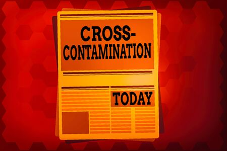 Text sign showing Cross Contamination. Business photo text Unintentional transmission of bacteria from one substance to another Newspaper Page Layout with Blank Headlines Article and column Format