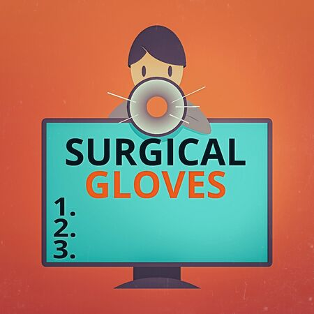 Writing note showing Surgical Gloves. Business concept for to protect from the exposure to infectious materials Man Behind mounted PC Monitor Talking and Holding Megaphone Stok Fotoğraf