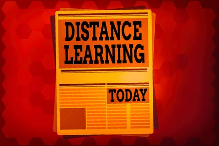Text sign showing Distance Learning. Business photo text educational lectures broadcasted over the Internet remotely Newspaper Page Layout with Blank Headlines Article and column Format