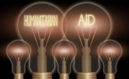 Conceptual hand writing showing Humanitarian Aid. Concept meaning immediate assistance provided after natural and manmade disaster Realistic colored vintage light bulbs, idea sign solution