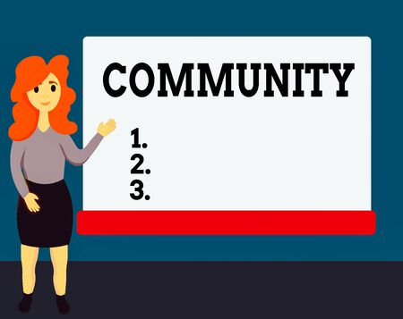 Handwriting text Community. Conceptual photo group of showing with a common characteristics living together Female Hu analysis Standing Hand Presenting Rectangular Blank Whiteboard