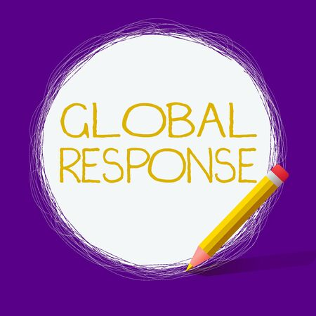 Word writing text Global Response. Business photo showcasing indicates the behaviour of material away from impact point Freehand Scribbling of circular lines Using Pencil on White Solid Circle