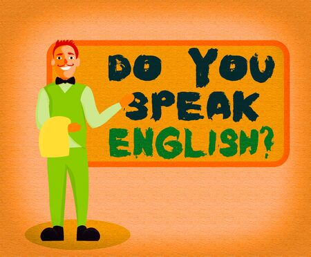 Writing note showing Do You Speak English Question. Business concept for to know whether the an individual can say English Male Waiter Standing in Uniform Hand Presenting Menu Board