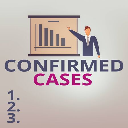 Text sign showing Confirmed Cases. Business photo text set of circumstances or conditions requiring action Man in Business Suit Standing Pointing a Board with Bar Chart Copy Space Banco de Imagens