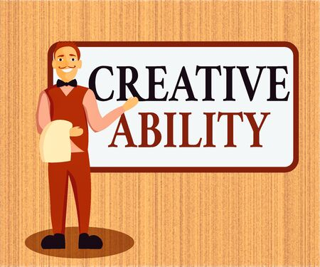 Word writing text Creative Ability. Business photo showcasing power to act freely to show themselves without limitation Male Waiter Smiling Standing in Uniform Hand Presenting Blank Menu Board Reklamní fotografie