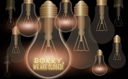 Text sign showing Sorry, We Are Closed. Business photo text apologize for shutting off business for specific time Realistic colored vintage light bulbs, idea sign solution thinking concept 版權商用圖片