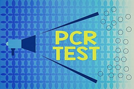Word writing text Pcr Test. Business photo showcasing qualitative detection of viral genome within the short seqeunce of DNA Megaphone Extending Loudness and Volume Range for Public Announcement 版權商用圖片