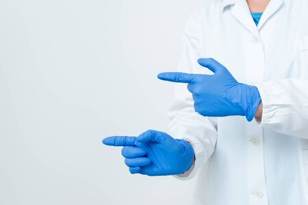 Displaying Empty Sticker Paper Accessories Smartphone With Medical Gloves On