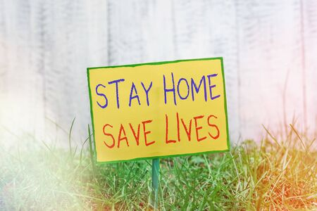 Handwriting text writing Stay Home Save Lives. Conceptual photo lessen the number of infected patients by not leaving the house Plain empty paper attached to a stick and placed in the green grassy land