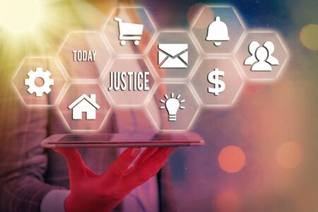 Word writing text Justice. Business photo showcasing use of power as appointed by law standards to support fair treatment Grids and different set up of the icons latest digital technology concept
