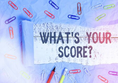 Handwriting text writing What S Your Score Question. Conceptual photo Tell Personal Individual Rating Average Results Statistics Rolled ripped torn cardboard placed above a wooden classic table backdrop