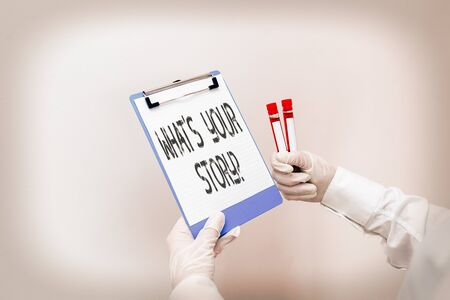 Conceptual hand writing showing What S Your Story Question. Concept meaning Share or tell us your life experiences and success Laboratory blood test sample for medical diagnostic analysis