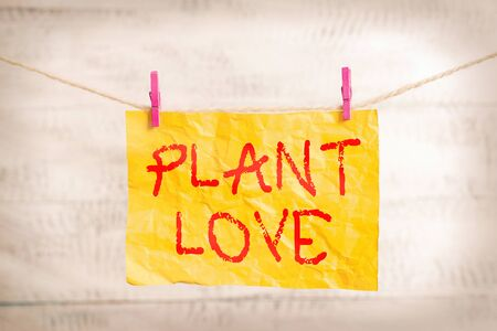 Word writing text Plant Love. Business photo showcasing a symbol of emotional love, care and support showed to others Clothesline clothespin rectangle shaped paper reminder white wood desk