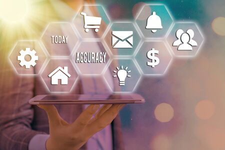 Word writing text Accuracy. Business photo showcasing refer to the closeness of measured value to standard or known value Grids and different set up of the icons latest digital technology concept