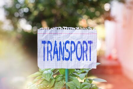 Handwriting text Transport. Conceptual photo carry passengers by truck or ferry from one place to another Plain empty paper attached to a stick and placed in the green leafy plants