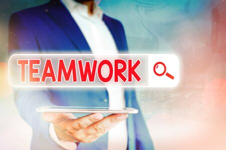 Handwriting text Teamwork. Conceptual photo the group s is collaborative effort to accomplish a common goal Web search digital information futuristic technology network connection