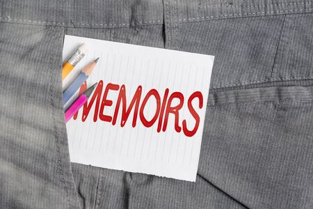 Word writing text Memoirs. Business photo showcasing collection of memories that individual writes about moments or event Writing equipment and white note paper inside pocket of man work trousers