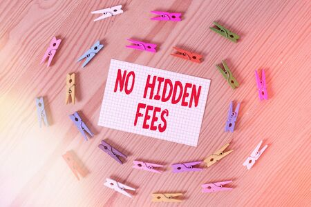 Text sign showing No Hidden Fees. Business photo text without or zero bank charge, service charge, or extras Colored clothespin papers empty reminder wooden floor background office
