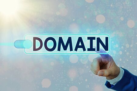 Conceptual hand writing showing Domain. Concept meaning identification string that defines a realm of administrative autonomy Graphics padlock for web data security application system Archivio Fotografico