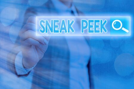 Writing note showing Sneak Peek. Business concept for to see before officially presented or released to the public Web search digital information futuristic technology network connection 版權商用圖片