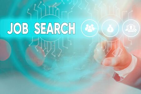 Writing note showing Job Search. Business concept for an act of sourcing for job openings and apply for a position System administrator control, gear configuration settings tools concept Standard-Bild
