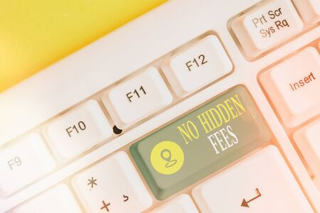 Text sign showing No Hidden Fees. Business photo showcasing without or zero bank charge, service charge, or extras White pc keyboard with empty note paper above white key copy space