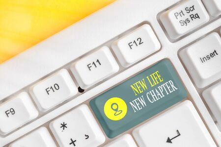 Text sign showing New Life New Chapter. Business photo showcasing modification of brand or business Change opportunities White pc keyboard with empty note paper above white key copy space