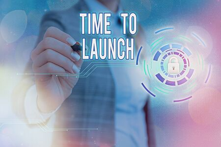 Writing note showing Time To Launch. Business concept for Business StartUp, planning and strategy, management, realization Graphics padlock for web data information security application system