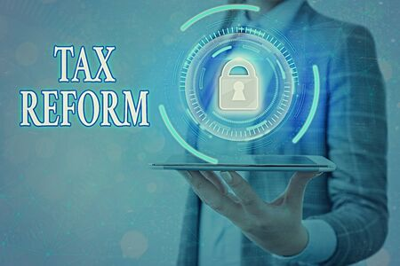Text sign showing Tax Reform. Business photo text government policy about the collection of taxes with business owners Graphics padlock for web data information security application system Stock Photo