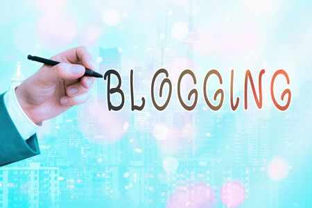 Conceptual hand writing showing Blogging. Concept meaning contains online an individualal reflections comments videos and photograph Touch screen digital marking important details in business Archivio Fotografico