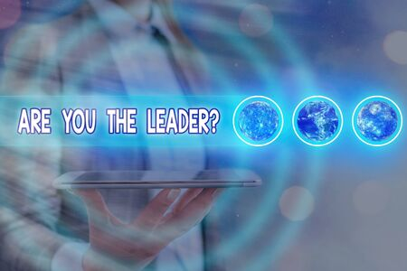 Word writing text Are You The Leader Question. Business photo showcasing asking for the qualification of being a good boss Futuristic icons solar system.