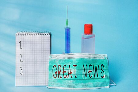 Conceptual hand writing showing Great News. Concept meaning the surprised reaction of learning good news or fortunate event Set of medical equipment with notepad for health assessment