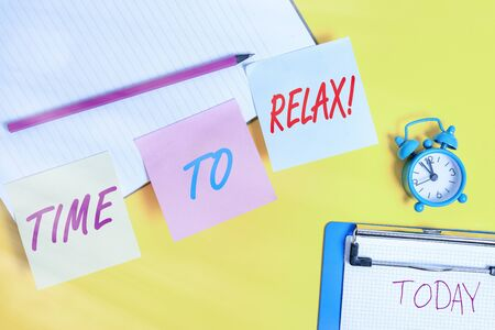 Handwriting text writing Time To Relax. Conceptual photo resting and keep calm after doing something tiring or stress Flat lay above table with blank papers with copy space for text messages