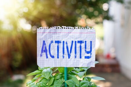 Handwriting text Activity. Conceptual photo the condition where many things are happening or move around Plain empty paper attached to a stick and placed in the green leafy plants