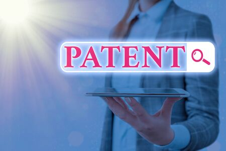Text sign showing Patent. Business photo text intellectualproperty that gives owner legal right has the sole right Web search digital information futuristic technology network connection