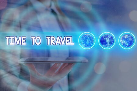 Word writing text Time To Travel. Business photo showcasing Collect moments Old ways won t open new doors. Let s is go explore. Futuristic icons solar system.