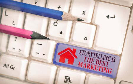 Word writing text Storytelling Is The Best Marketing. Business photo showcasing Companies effective marketing approach Imagens