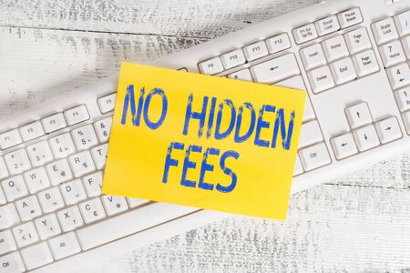 Handwriting text No Hidden Fees. Conceptual photo without or zero bank charge, service charge, or extras White keyboard office supplies empty rectangle shaped paper reminder wood