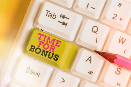 Word writing text Time For Bonus. Business photo showcasing Limited exclusive offer, extra discounts, crazy deal