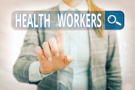 Word writing text Health Workers. Business photo showcasing showing whose job to protect the health of their communities Web search digital information futuristic technology network connection 免版税图像 - 150258481