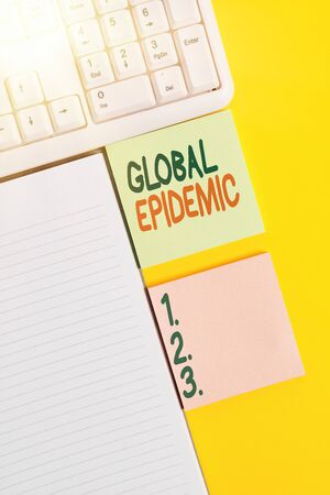 Word writing text Global Epidemic. Business photo showcasing a rapid spread of a communicable disease over a wide geographic area Empty papers with copy space on yellow background table
