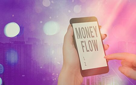 Word writing text Money Flow. Business photo showcasing it is an indicator of positive or negative in a current day Modern gadgets with white display screen under colorful bokeh background Reklamní fotografie