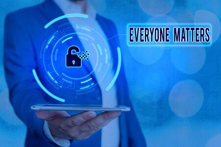 Handwriting text Everyone Matters. Conceptual photo listen to all the voices at the table no bias or preference Graphics padlock for web data information security application system