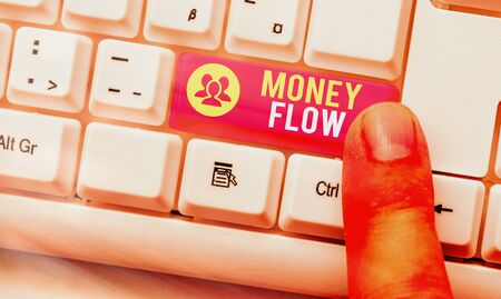 Word writing text Money Flow. Business photo showcasing it is an indicator of positive or negative in a current day White pc keyboard with empty note paper above white key copy space
