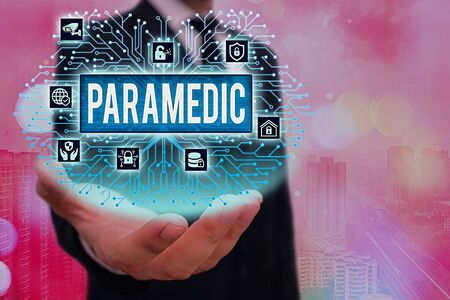 Conceptual hand writing showing Paramedic. Concept meaning a health worker having an expertise in emergency medical work System administrator control, gear configuration settings