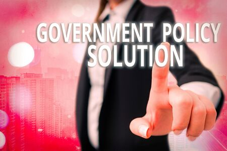 Writing note showing Government Policy Solution. Business concept for designed game plan created in response to emergency disaster Touch screen digital marking important details in business