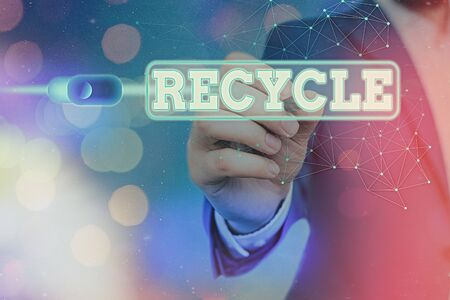 Word writing text Recycle. Business photo showcasing process of converting waste materials into new materials and objects Graphics padlock for web data information security application system