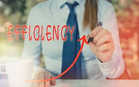 Text sign showing Efficiency. Business photo text ability to prevent a waste of resources energy money and time digital arrowhead curve rising upward denoting growth development concept