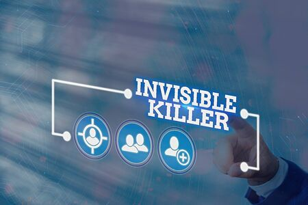 Conceptual hand writing showing Invisible Killer. Concept meaning presence into the air of a substance which are harmful Information digital technology network infographic elements