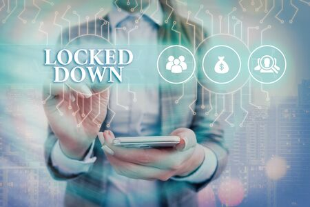 Text sign showing Locked Down. Business photo text emergency measure which showing prevented from restricted area System administrator control, gear configuration settings tools concept